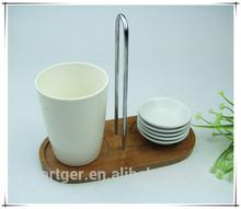 OEM design bamboo rack with Ceramic cup