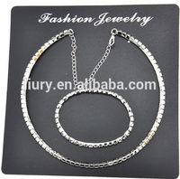 Fashion hot sale full crystal circle bracelet and necklace set
