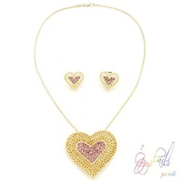 China manufacturer young girl gold plated heart pendant jewelry set