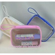 2015 customized fashion transparent eco-friendly pvc cosmetic bag handle