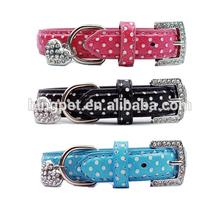 Free Shipping! wholesale 2014 Popular Pet collar polka dot dog collar PU dog collar with heart pendant