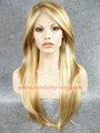 Rubio largo Natural de la piel superior del frente del cordón sintético peluca Angelina Jolie estilo