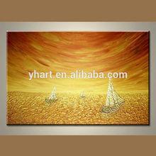 Wholesale golden fashion sailing oil painting
