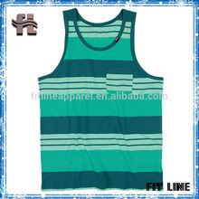 high quality 100% cotton singlets for man,stripe print men vest,cusal tank top