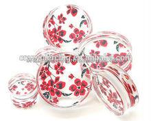 Hot Sale Pretty Double Flared Red Flower UV Body Piercing Flower Ear Tunnels