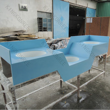 Super mall restroom solid surface vanity tops,price list