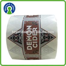 High quality waterproof reverse printed labels,personalized custom print adhesive label maker wine bottles