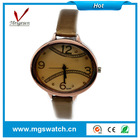Vintage color leather wristwatch, ellipse alloy case stainless steel back for women