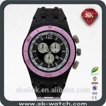 Silicone customed logo three eyes black geneva watch