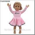 Venta al por mayor de moda muñeca de la muchacha de bastoneras vestido, de color rosa vestido de la muñeca por 18 pulgadas