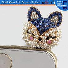 Hot Sale Cute Animal 3.5mm Dustproof Earphone Plug For Cell Phone Dustproof Jack Plug With Pearl and Diamond