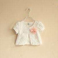 Summer New Girls T shirts White Summer Shirt Cute Flower Baby Tops Kids Wear Children Clothes Free Shipping OC40401-2