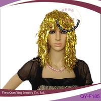 golden bright color party plastic PVC wigs