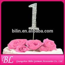 4.5cm sparkling number 1 rhinestone cake topper for decoration