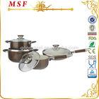 8pcs brown color ceramic coating aluminum cookware set/kitchen cookware/nonstick cookware set