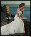 elegante piso de longitud de un hombro chifón vestido de novia playa gl003