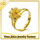 Fashion copper flower adjustable pure gold ring
