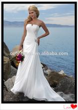Hot sale Elegant V- Neckline Appealing Chiffon Beach Wedding Dress GL006