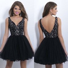 2014 New Arrival Black V-Neck Backless Lace Tulle Homecoming Dresses Short A-Line Prom Cocktail Gowns NB0456