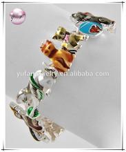 Antique Silver Tone Metal / Multi Color Epoxy / Lead&nickel Compliant / Animal / Kitty / Magnetic Closure Bracelet