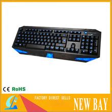 USB Blue LED Illuminated Ergonomic Backlight Gaming Wired Keyboard for Laptop PC