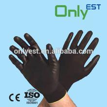 Laboratory use chemical resistant black color polyurethane coat gloves