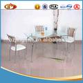 retangular mesa de jantar de vidro temperado transparente com prateleira de madeira