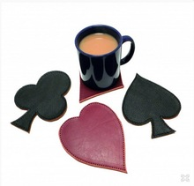 high quality pu poker coasters, play cards shape coaster, hot sale hearts/diamonds/spades/clubs suit coaster