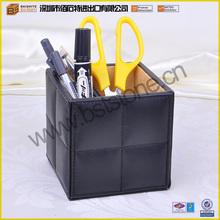 2015 Hot Selling Black Fashion Stationery Storage Leather Pen Holder PU Pencil Case