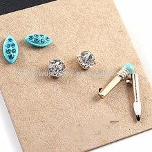 Fashion gold plating unique zinc alloy triple set pencil stud earrings