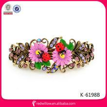 Manufacturer wholesale cute fancy colored plastic flower hair snap clips