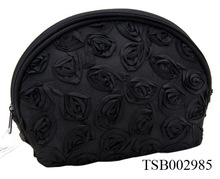 Wholesale Fashion Beauty Black Rose Cosmetic Bag With High Quality 2014