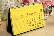 2015 mini /large size table/desk paper calendar with PVC printing