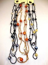 30quot Seed Beaded Neck Set w Marble Beads amp Metalic Disc