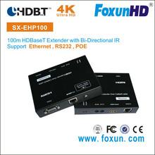 Foxun HDBaseT Extender with POE over single 100m CAT5 support 4Kx2K, CEC, IR, 3D & Ethernet
