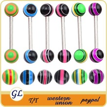 2014New design! Latest trendy two balls unique tongue fake magnetic piercings