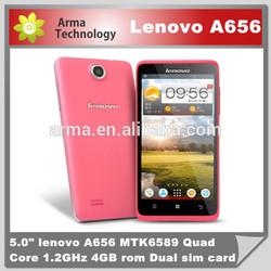"mtk6589 Lenovo A656 quad core android phone 5.0"" 512MB Ram 4GB Rom 5.0MP 3G dual sim mobile phone"