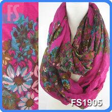 Flower pattern design fashion scarf linen