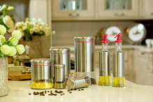 7 Piece Set Kitchenware Storage Jar Oil & Vinegar Bottle Spice Bottle Cruet