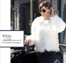 Fur Talk Luxury Design Ostrich Feather Fur Coat