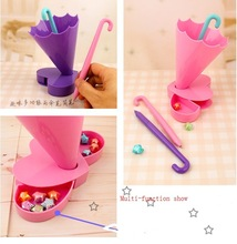 multi-function plastic pen /pencil/brush container/ holder for deck tidy , office stationery with umbrella shape