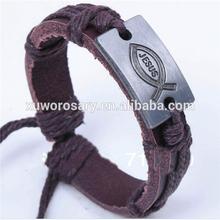 Braided Brown Genuine Leather Religion Jesus Bracelet XWS-1423