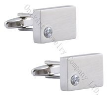 fine and comely CZ inlaid cuff links/ good quality and brushed mens cufflinks