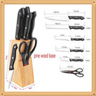 Popular POM handle kitchen knife set with wood block