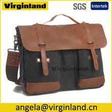 8575 Popular Promotional Black Vintage Washed Canvas Real Leather Trim Conference Satchel Bag for Business