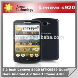 Lenovo S920 phone white / dark blue dual sim Quad Core MTK6589 Russian language free shipping with 8gb card