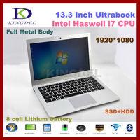 "13.3"" 4th generation Processor I7 laptop Computer with 8GB RAM +128GB SSD 1920*1080 Full resolution 6600mAh, Windows 8"
