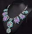 Novos moda shourouk marca design de cristal roxo azul chunky hanmade colar declaração& pendente para as mulheres