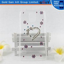 Hot Sale Handmade Heart Pattern Transparent Diamond Case For Samsung S5 PC Diamond Case For Galaxy S5