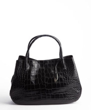 Black Croc Embossed Leather Bag Lady Top Handle Tote Bag leather tote wholesale